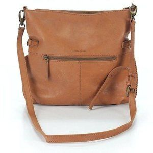 Lucky Brand Solid Leather Brown Crossbody Purse